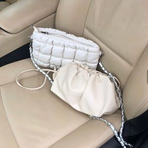 Off White Ruched Crossbody Bag
